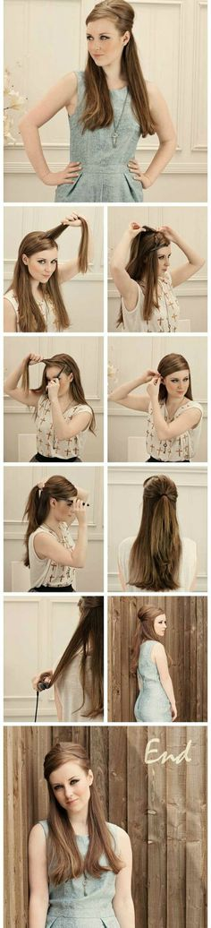 How to - Hair half up, straight, sleek