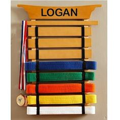 Wall Mount Martial Arts Belt Holder - Holds Up To 8 Karate Belts - Optional Free…