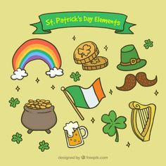 Hand drawn ST. Patrick's day elements Free Vector