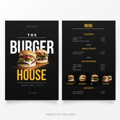 Modelo de menu do hamburguer Vetor grátis Menu Burger, Home Burger, Burger Restaurant, Restaurant Menu Design, Restaurant Identity, Food Graphic Design, Food Menu Design, Food Poster Design, Web Design
