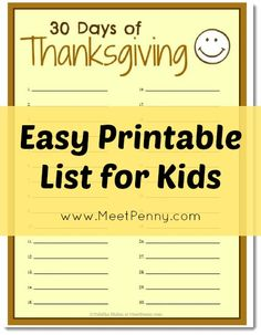 30 Days of Thanksgiving for Kids (and Mom too)