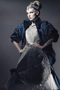 "Angela Lindvall wears Alexander McQueen in ""Magical Fashion"" ph.  by Richard Burbridge | Harper's Bazaar,"