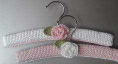 Set of two shabby chique crochet baby hangers by MissTiddels, $9.50