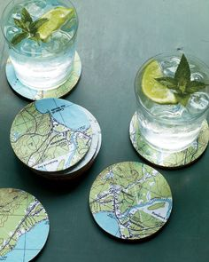 Cut your coasters from cork and adhere map mementos for a conversation piece that takes only minutes to put together.