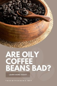 Have you ever opened a bag of coffee beans, only to find out that they were glistening with oil? This is a common occurance! Does this mean that they are bad? Learn everything you need to know about oily coffee beans today! #oilycoffeebeans #darkoilycoffeebeans #coffeebeans #roastedcoffeebeans #darkoilycoffeebeans Types Of Coffee Beans, Fresh Coffee Beans, Arabica Coffee Beans, Coffee Uses, Coffee Type, Great Coffee, Coffee Facts, Coffee Plant, Coffee Health Benefits