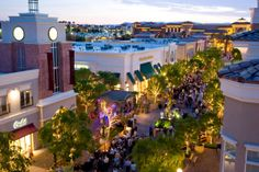 The District shopping outdoor plaza in Las Vegas - Shops include, Anthropologie, Aveda, Chico's and more.