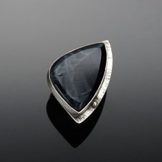 'Smoking Mirror' Spiderweb Obsidian and Sterling Silver Ring  Obsidian connects the mind and emotions by grounding spiritual energy in the physical plane. www.vivantedesigns.com