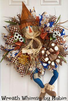 Fall Burlap Mesh Scarecrow Wreath in Blue, Orange & Brown, Front Door Wreath, Autumn Wreath, Fall Decor, Harvest Wreath, XL Fall Wreath by WreathWhimsybyRobin on Etsy