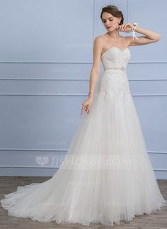 [US$ 346.69] A-Line/Princess Sweetheart Court Train Tulle Lace Wedding Dress With Beading Sequins (002106071)