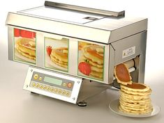 The Holiday Inn Express in Syracuse NY has one of these.  Makes 2 pancakes in about 1 minute