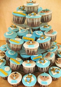 Baby Shower Ideas For Boys - Bing Images Baby Boy Cupcakes, Cupcakes For Boys, Baby Cupcake, Baby Shower Cakes For Boys, Love Cupcakes, Boy Baby Shower Themes, Baby Shower Cupcakes, Cupcake Party, Baby Boy Shower