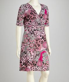 Take a look at this Pink Plus-Size Surplice Dress by Glory Fashions on #zulily today!