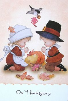 Morehead Praying Children Pilgrims Thanksgiving Leaves Chickadee Greeting Card | eBay