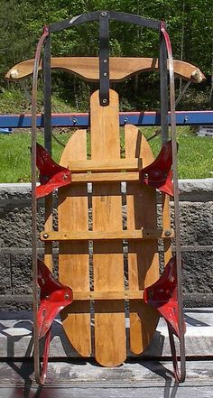 Small Size Vintage Wooden Snow Sledge 40x21 Flexible Flyer Speedaway Sled Pretty