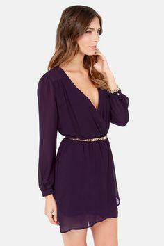 Exclusive Under Wraps Dark Purple Wrap Dress