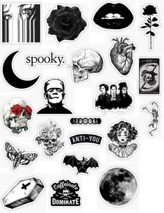gothic stickers gothic sticker packs grunge goth black white skull skeleton heart roses pedals black dark darkness lips spooky sticker pack overlays e Stickers Cool, Tumblr Stickers, Phone Stickers, Journal Stickers, Printable Stickers, Preppy Stickers, Grunge Goth, Black And White Stickers, Decoration Stickers
