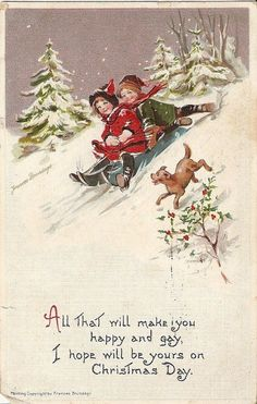 Brundage, Vintage 1912 Christmas Card with Children and Dog from Charmed Collectibles