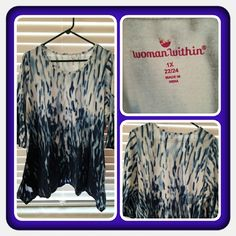 HP🎉🎉 NWOT Woman's Blue Ombre Tunic Size 1X Brand New Never Worn Woman's Tunic Size 1X From Woman Within. This Is Very Pretty In A Blue Ombre Print Fits Very Loose Depending On How You Like Your Tops To Fit. I Think It's Flattering To The Figure longer On Both Sides & Shorter In Front & Back. Excellent Condition 🚫 PAYPAL 🚫 TRADES 🚫 OFFERS FINAL MARKDOWN 💙 Woman Within  Tops Tunics