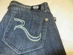 "ROCK & REPUBLIC SKYNARD Straight Leg 29 x 33 ½""  Contrast Stitch Blue EXCELLENT #RockRepublic #StraightLeg"