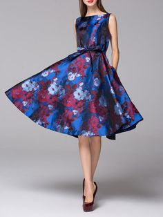 Shop Midi Dresses - Red Bateau/boat Neck Floral Sleeveless Midi Dress online. Discover unique designers fashion at StyleWe.com.