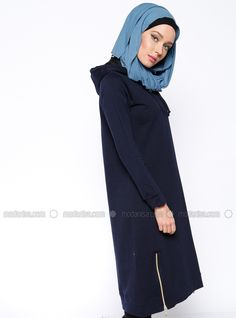 Zipper Detail Tunic - Navy Blue, Tunics. Modanisa your online muslim modest fashion store. Thousands of items at discounted prices. Start shopping.