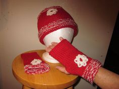 Girl's hand knit hat and mittens set...red with white snowflakes