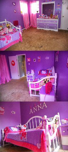 Annas Hello Kitty bedroom. DIY hello kitty bedroom. #girlsbedroomdecor