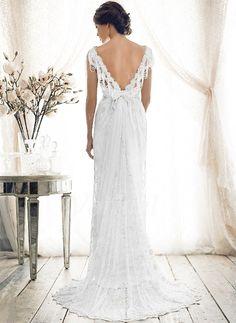 Brautkleider - $231.63 - Etui-Linie V-Ausschnitt Sweep/Pinsel zug Spitze Brautkleid mit Perlen verziert Schleife(n) (0025055895)