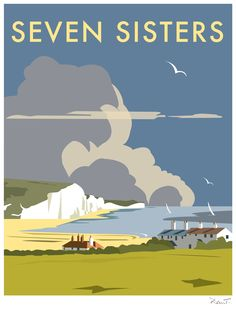 Vintage Travel Seven Sisters - Dave Thompson Contemporary Travel Print Art Print - Gig Poster, Retro Poster, Poster Vintage, Vintage Travel Posters, Poster Prints, Art Prints, Vintage Signs, Posters Uk, Railway Posters