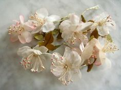 Vintage millinery flowers 1950s cherry blossoms 6 pc 8 blooms wire stems Lot #2