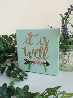 It Is Well 6x6 Hand Painted Canvas Christian by RusticShineStudio