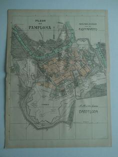 1913 MAPA Plano de Pamplona Benito Chias y Carbo (Spain Map España)