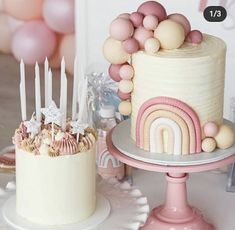 Birthday Cake For Daughter, Rainbow First Birthday, 1st Birthday Party For Girls, Girl Birthday Themes, First Birthday Cakes, Baby Birthday, Birthday Ideas, Baby Shower Sweets, Boho Cake