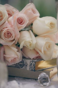 Lovely... blush roses and books. I will always think of you when I read Mom. You so loved to read. xox ~~