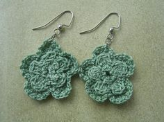 Garden Rose Crochet Earrings by KottageKreations on Etsy, $7.00
