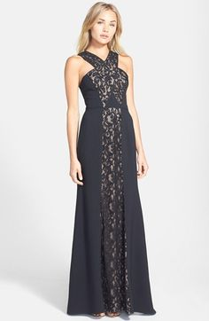 BCBG MAXAZRIA BCBGMAXAZRIA 'Maegan' Lace Inset Crêpe de Chine Gown available at #Nordstrom