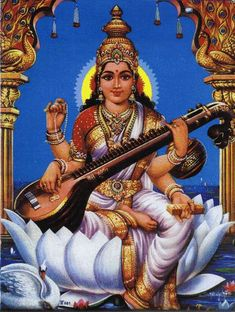 Goddess Saraswati is the Hindu Goddess of Learning, Knowledge and Wisdom. the necklace of pearls, symbolizing meditation and contemplation