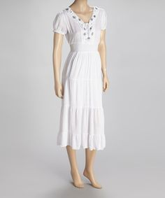 Take a look at this White Beaded Short-Sleeve Dress by SR Fashions on #zulily today!