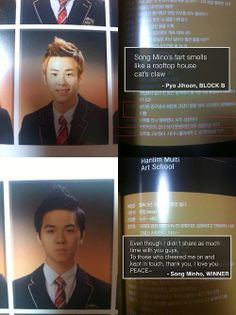 Mino (Winner) & P.O's (Block B) Graduation Message...lol what even