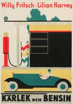 Movie poster, 1930, Kärlek Och Bensin. (Swedish)