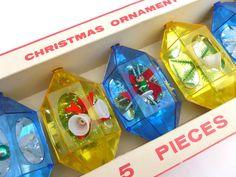 Vintage Jewelbrite Plastic Christmas Ornaments by BornAtTheWrongTime, $20.00