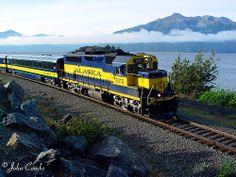 Alaska Railroad northbound Coastal Classic as seen along Turnagain Arm.