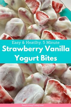 Want to enjoy a sweet, frozen treat but feel guilty every time you do? Well these healthy strawberry vanilla, homemade yogurt bites are guilt free! The recipe is packed with protein and antioxidants, so you can feel good about eating them! More healthy, homemade frozen yogurt bites included at the end!