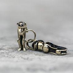 MINKY KEYCHAIN  Solid Brass Cheeky Monkey Charm With by BlamoToys