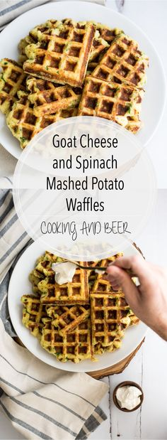 Goat cheese and spinach mashed potato waffles are a great way to use leftover mashed potatoes. They make a great side dish or bite-sized snack!