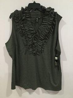 Milano Woman  Ruffle Front Sleeveless Gray  Shirt Top Women's Plus Size 2x Nwt #Milano #Blouse