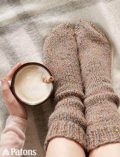 Yarnspirations.com - Patons Slouchy Socks  - Patterns    Yarnspirations