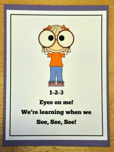 1-2-3 Eyes On Me Poster:  New Freebie!  Serves as behavior reminder and visual cue.
