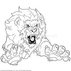 Lion Leaping Outward Coloring Pages Lion Coloring Pages, Pattern Coloring Pages, Doodle Coloring, Cartoon Coloring Pages, Coloring Books, Thomas And Friends, Mandala Pattern, Doodle Art, Art Drawings
