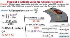 In this exclusive civil engineering tutorial, you will get information on find out a suitable value for full superelevation. Civil Engineering Handbook, Civil Engineering Projects, Engineering Notes, Transportation Engineering, Civil Engineering Construction, Chemical Engineering, Electrical Engineering, Framing Construction, Road Construction